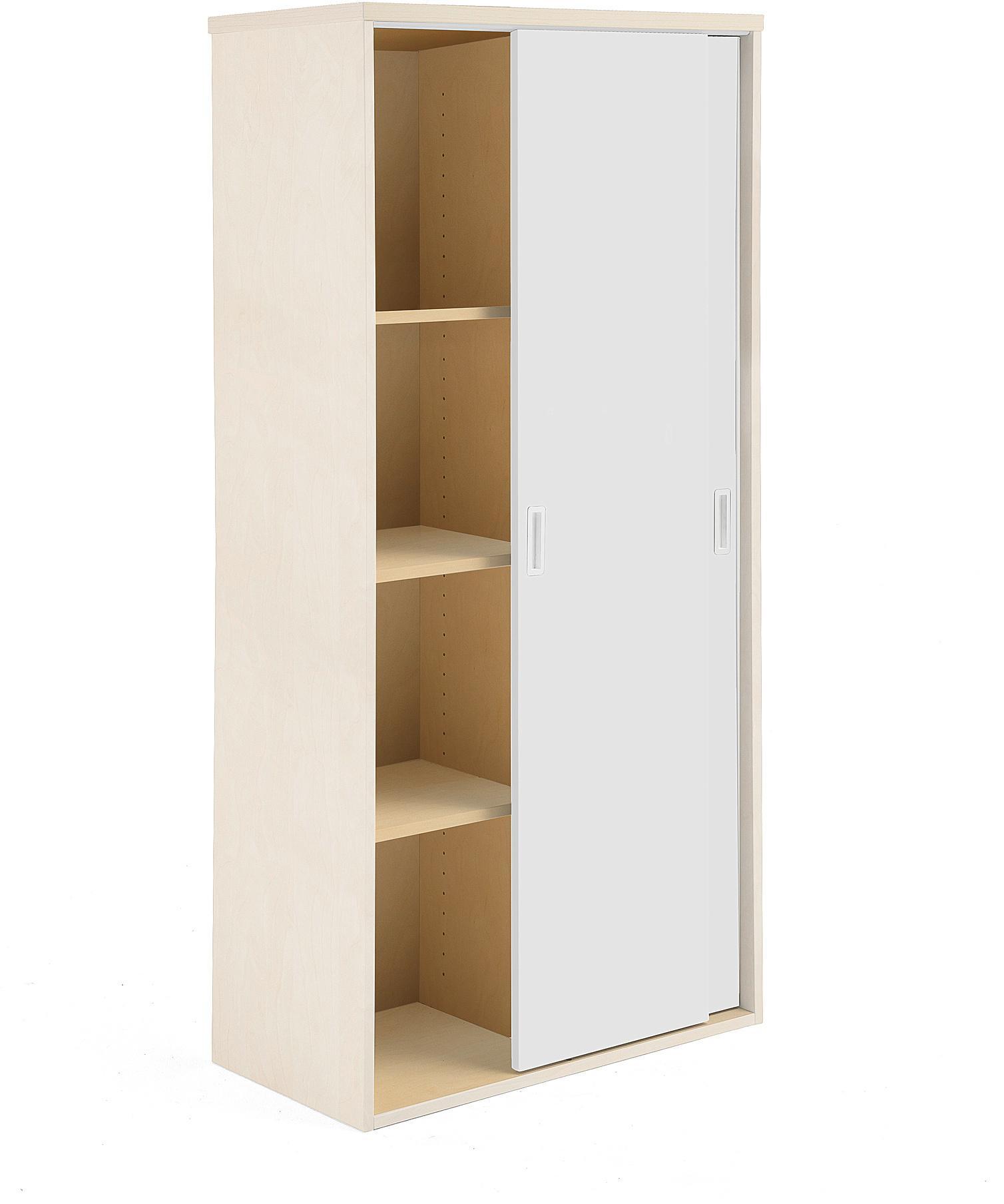 Kancelárska skriňa Modulus s posuvnými dverami, 1600x800 mm, breza / biela