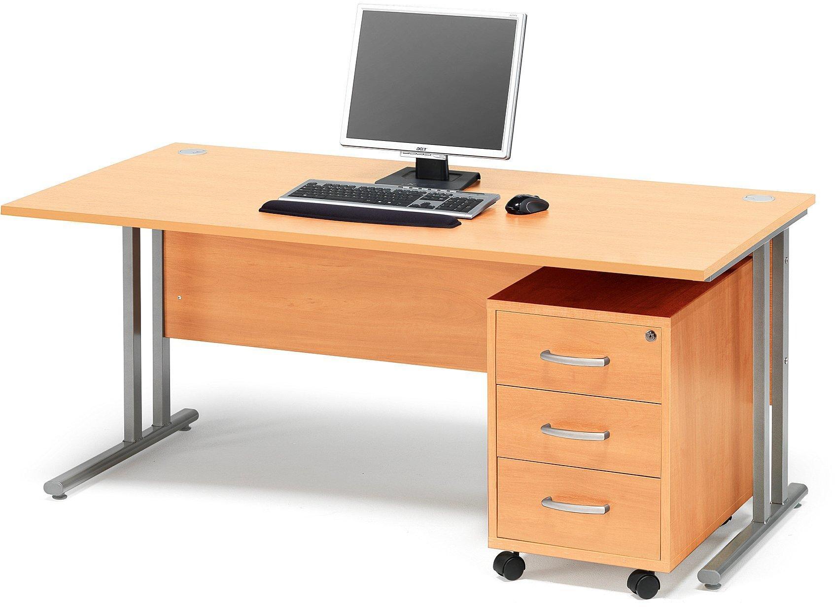 Kancelárska zostava Flexus: stôl 1600x800 mm + kancelársky kontajner, buk