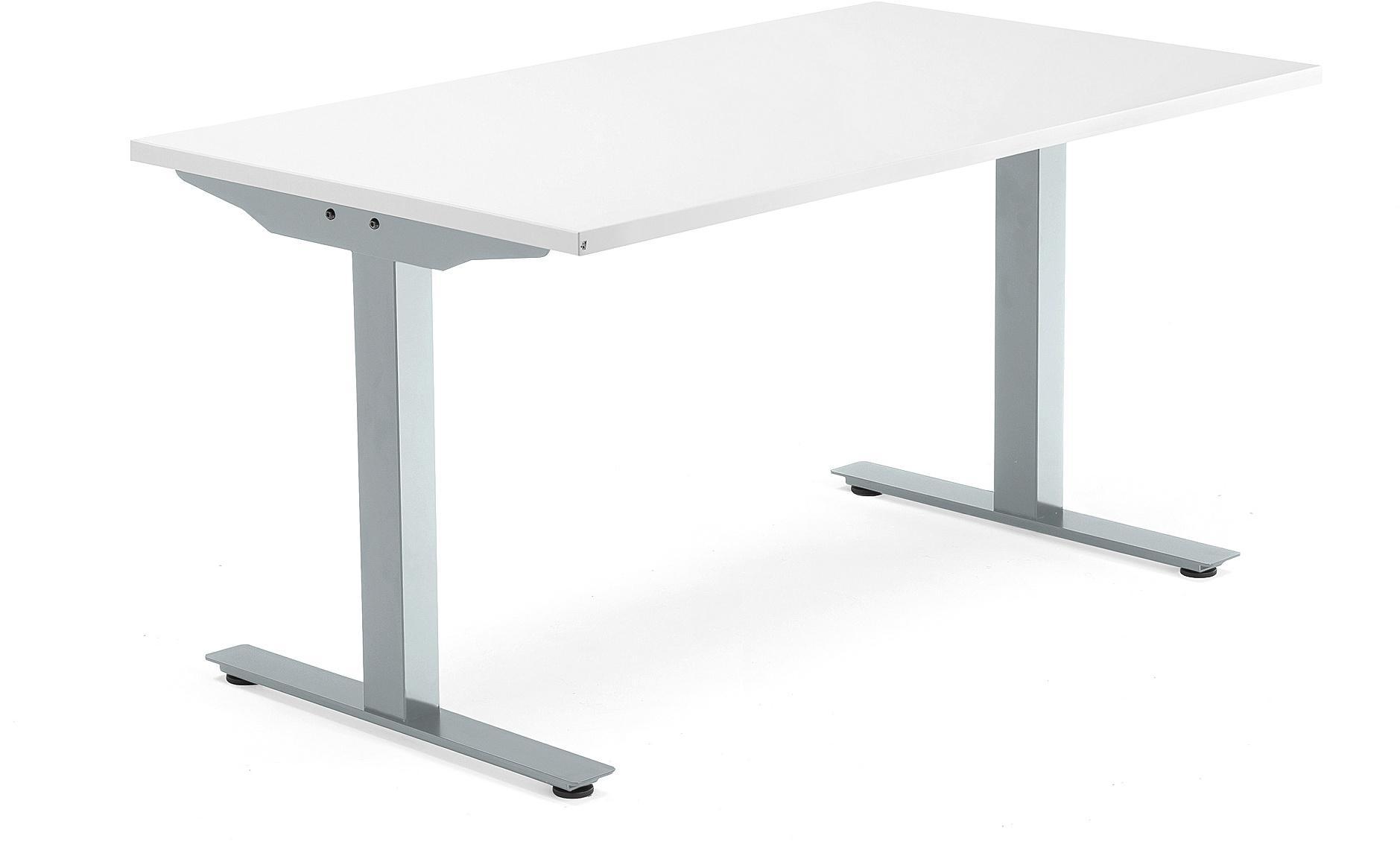 Kancelársky pracovný stôl Modulus, T-rám, 1400x800 mm, biela/strieborná