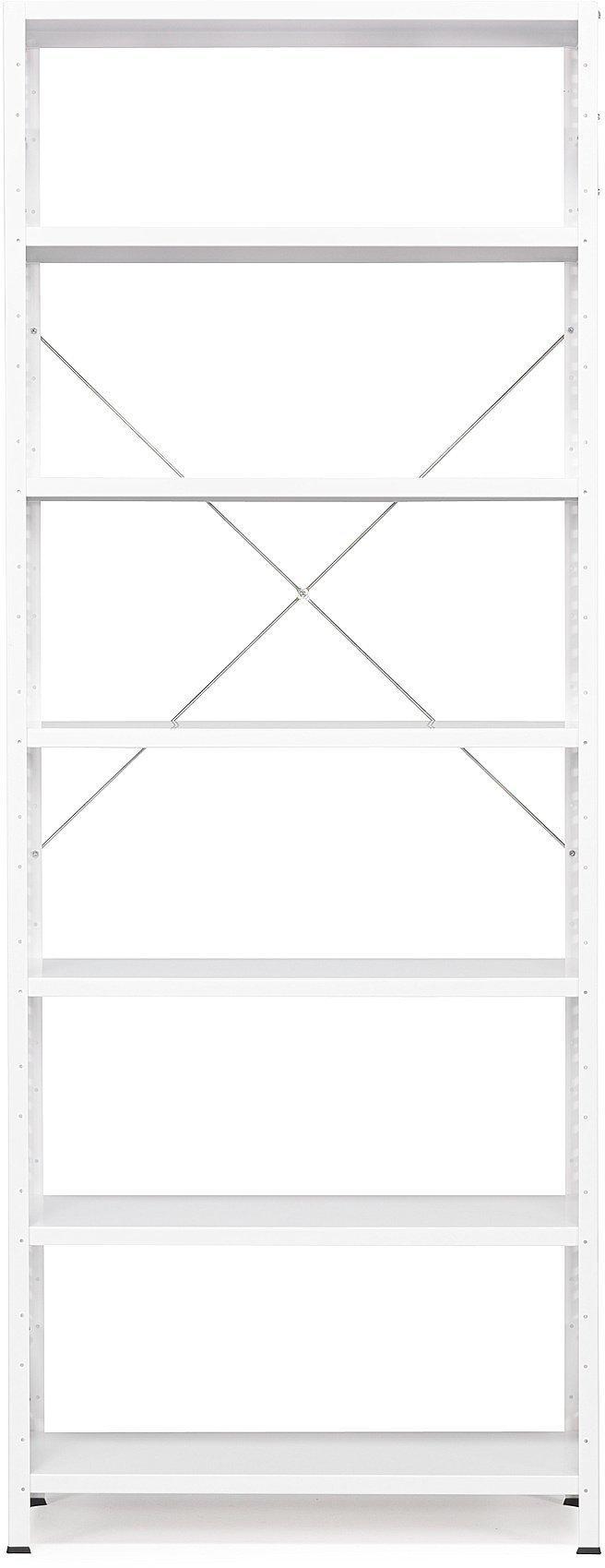 Kancelársky regál Light, základná sekcia, 2500x1010x400 mm, biely