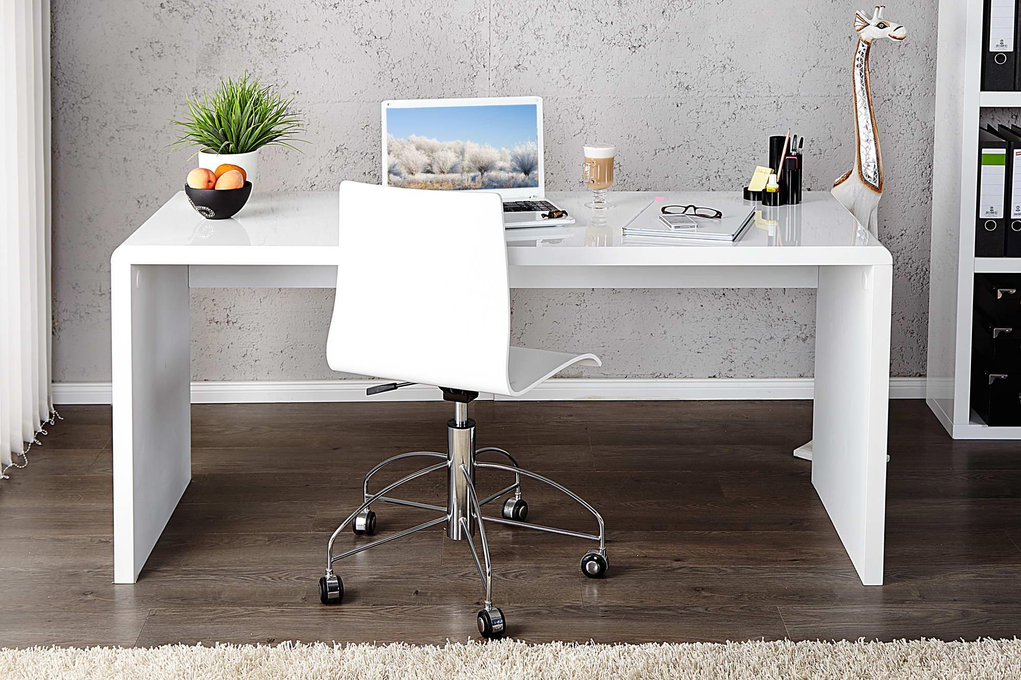 Kancelársky stôl Barter 120cm biely vysoký lesk