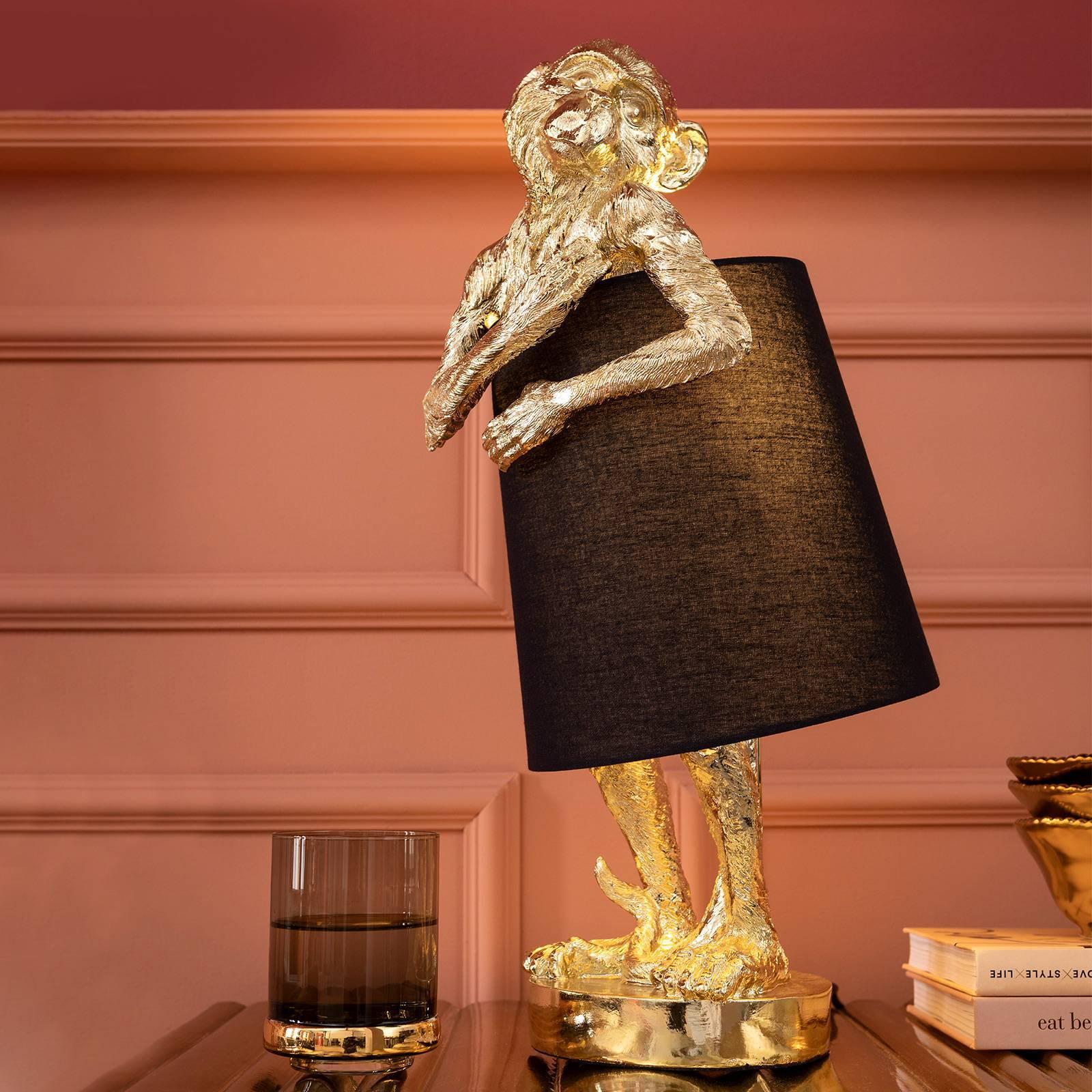 KARE KARE Animal Monkey stolná lampa čierna/zlatá