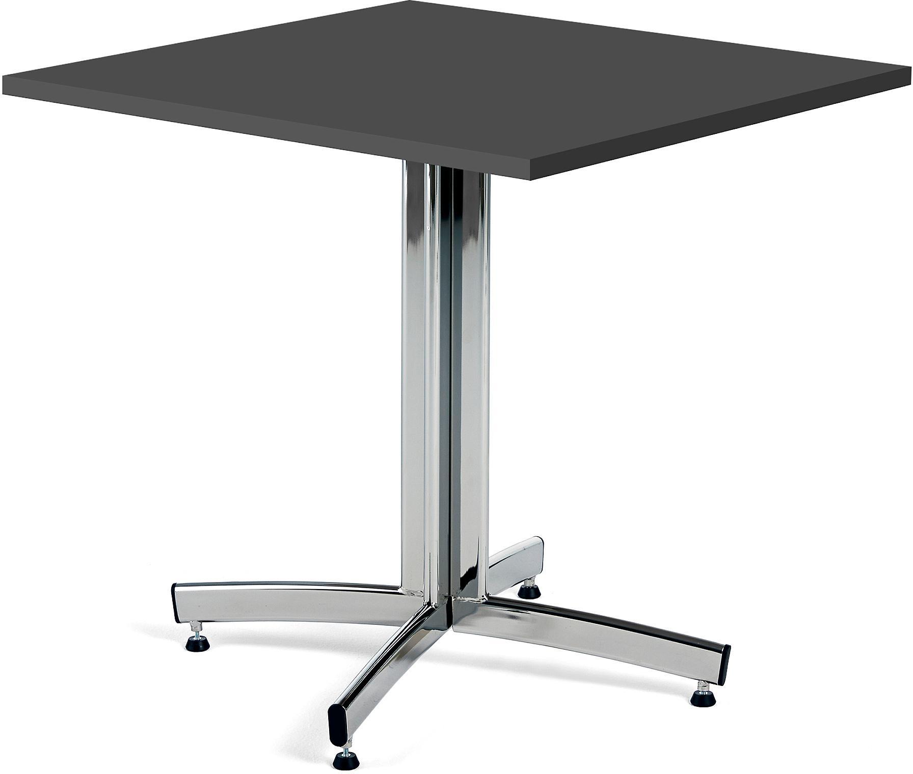 Kaviarenský stôl Sally, 700x700x720, čierna, chróm