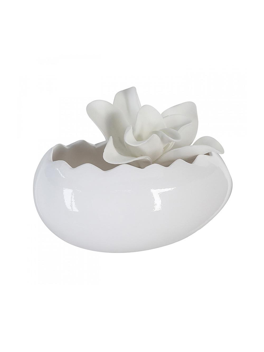 Keramický kvetináč / misa Egg, 20 cm, biela