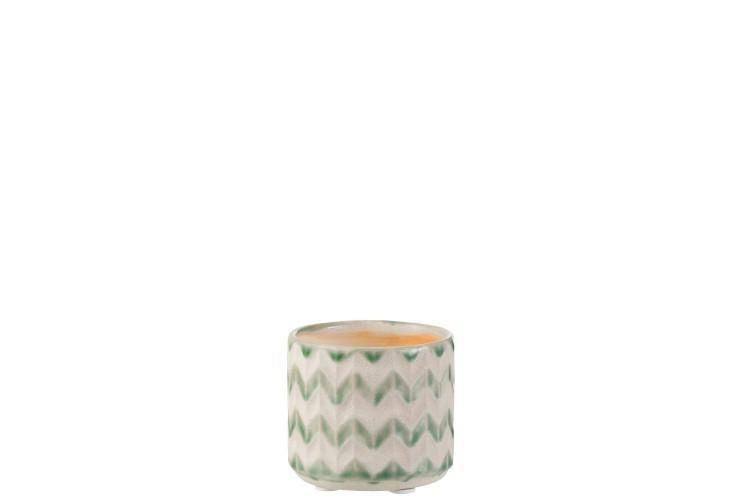 Keramický zeleno krémový kvetináč so vzorom zigzag - 8*8*7 cm