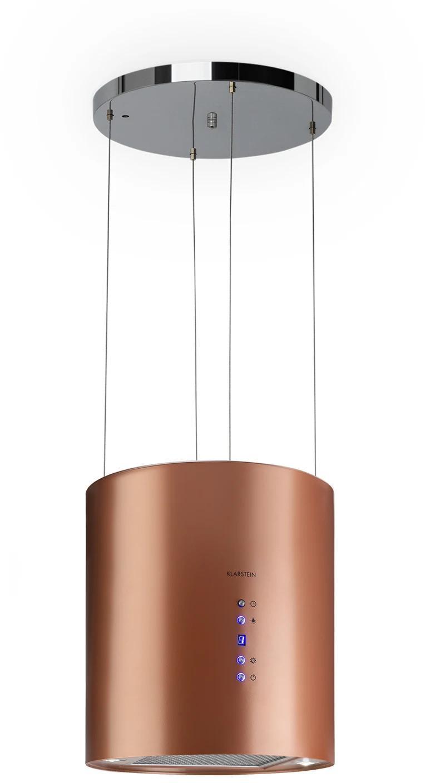 Klarstein Barett, ostrovčekový digestor, Ø 35 cm, recirkulácia vzduchu 560 m³/h, LED, medený