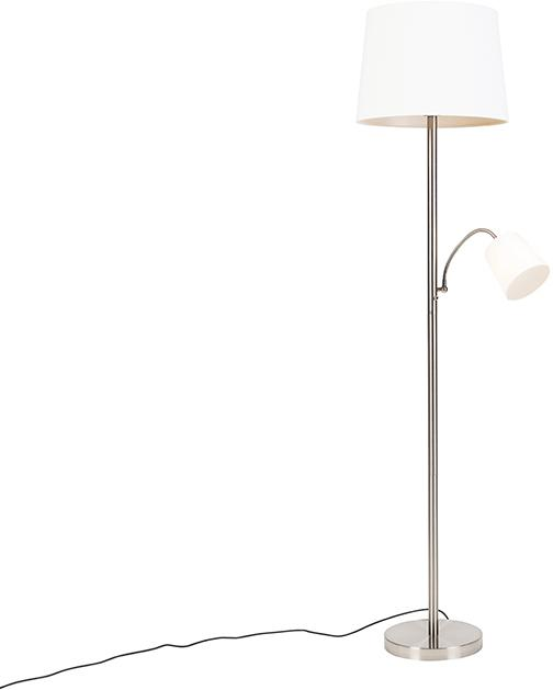 Klasická stojaca lampa z ocele s bielym tienidlom a svetlom na čítanie - Retro