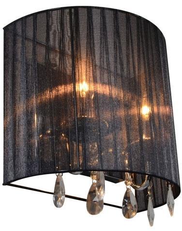 Klasické nástenné svietidlo chróm s čiernym tienidlom - Ann-Kathrin 2