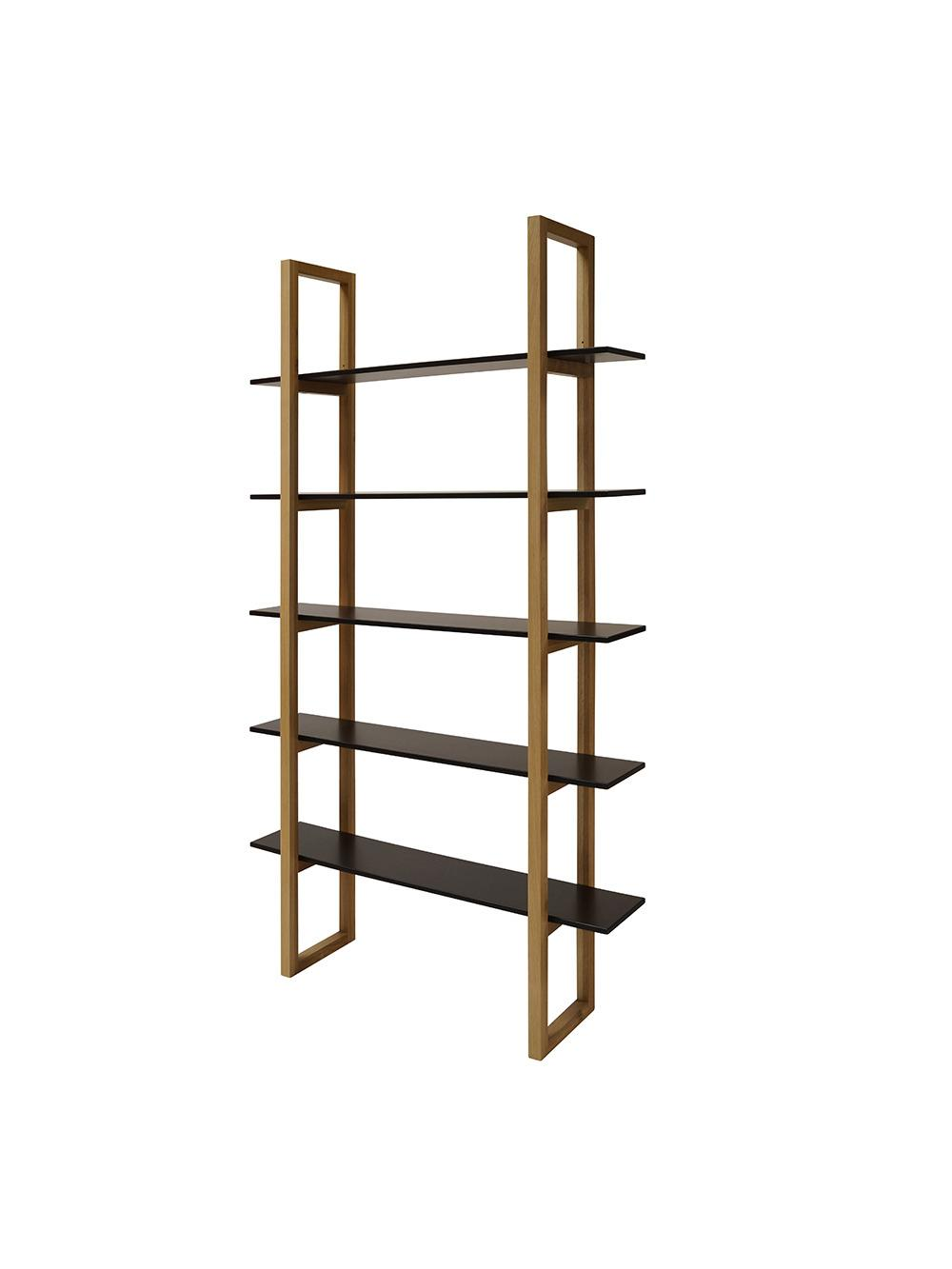 Knižnica / regál s 5 policami Book, 200 cm, dub/čierna