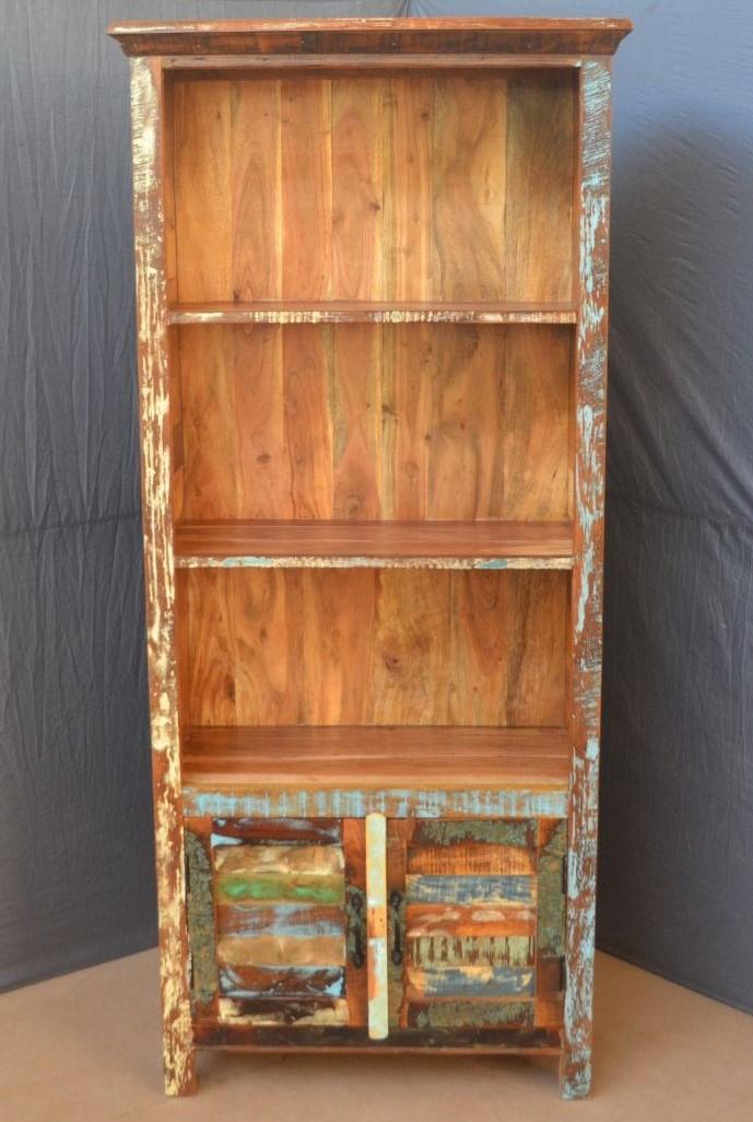 Knižnica Retro 90x180x35 recyklované mango - Old spice