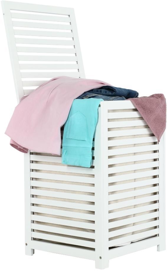 KONDELA Basket kôš na prádlo bambus / biela / béžová