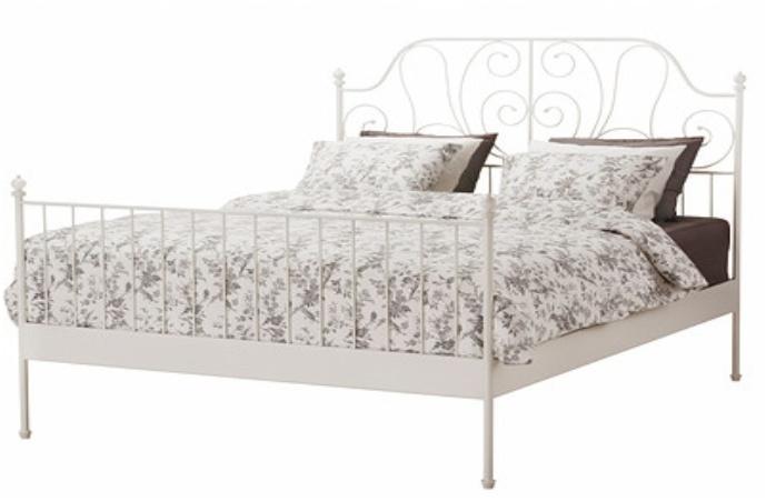 KONDELA Behemoth 140 kovová manželská posteľ s roštom biela
