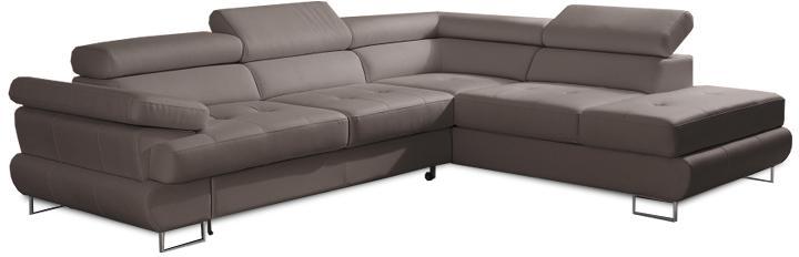 KONDELA Buton R P rohová sedačka s rozkladom a úložným priestorom sivohnedá