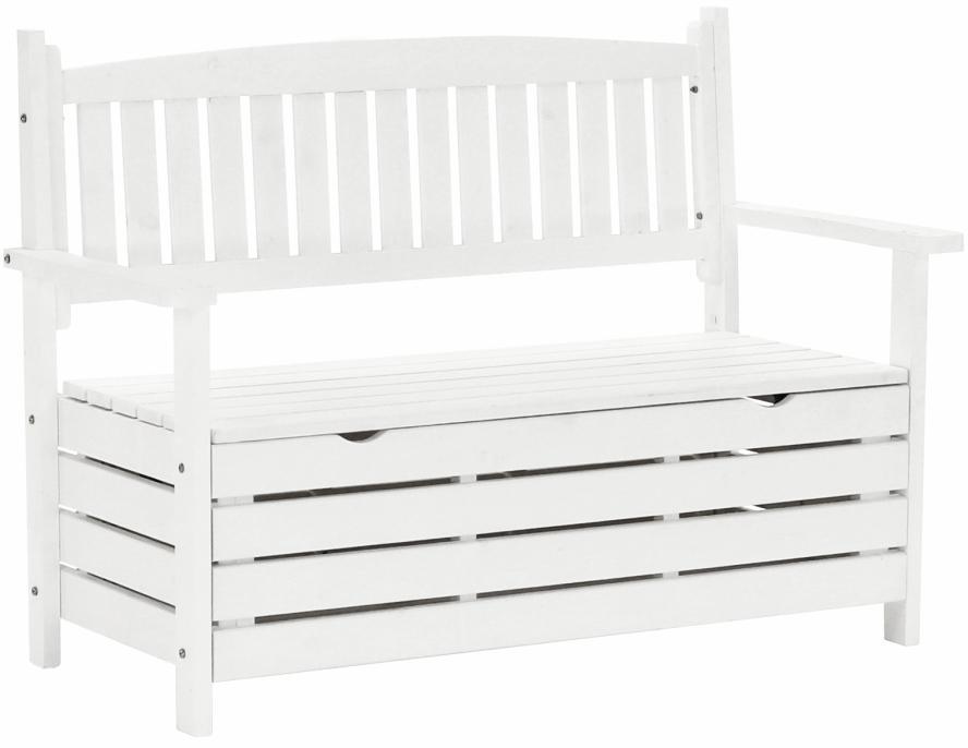 KONDELA Dilka záhradná lavička s úložným priestorom biela