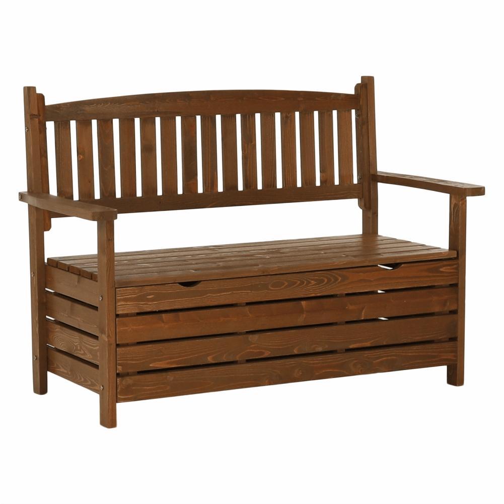 KONDELA Dilka záhradná lavička s úložným priestorom hnedá