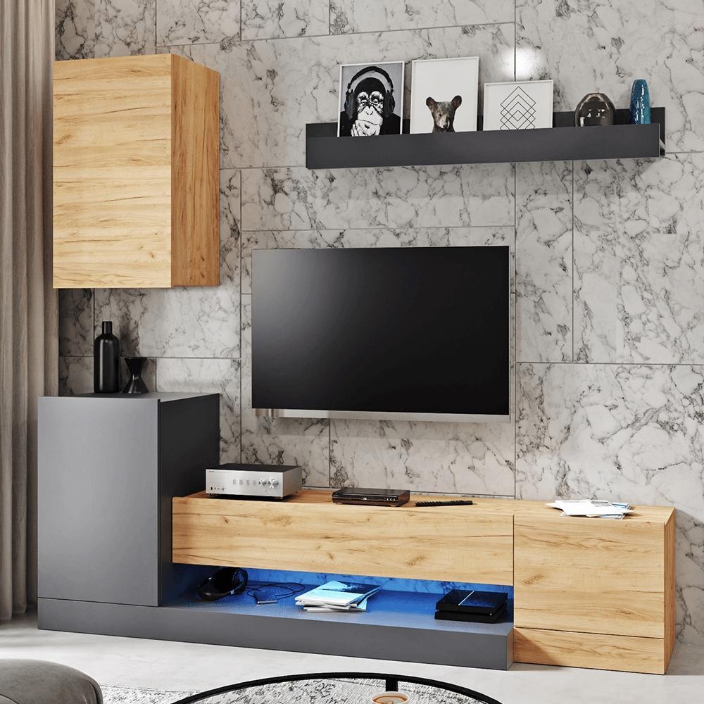 KONDELA Dula OS obývacia stena sivý antracit / dub wotan