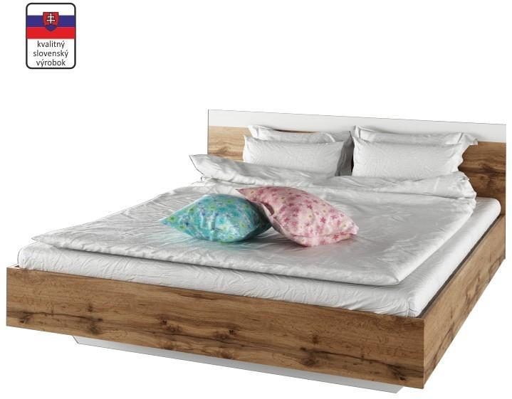 KONDELA Gabriela 160 manželská posteľ dub wotan / biela