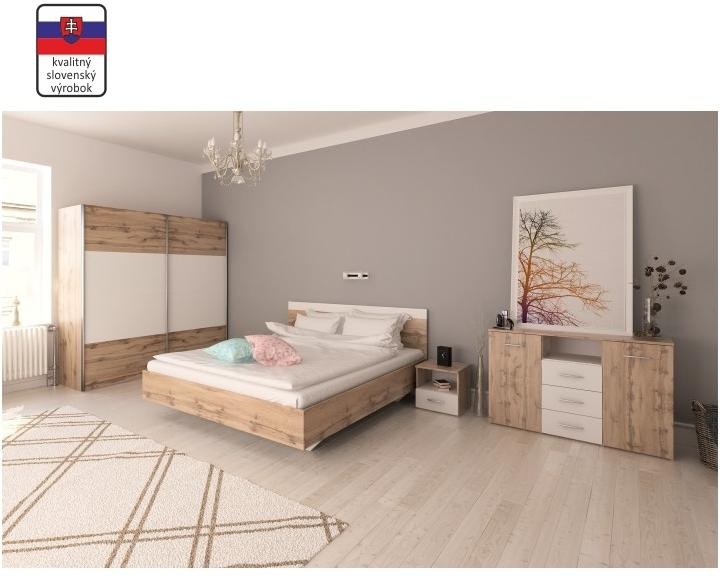 KONDELA Gabriela 160 spálňa dub wotan / biela
