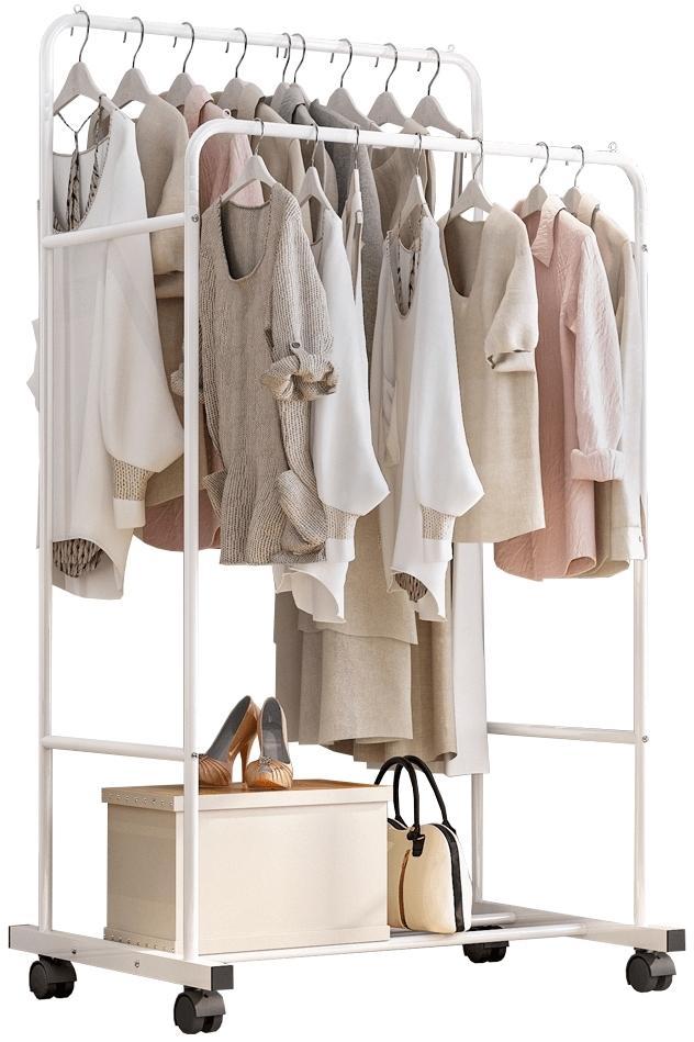KONDELA Iliana pojazdný stojan na šaty biela