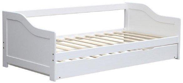 KONDELA Intro 90 drevená rozkladacia posteľ s prísteľkou biela