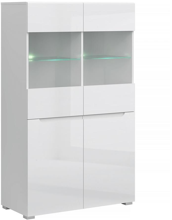 KONDELA Jolk 2D2W vitrína biela / biely lesk