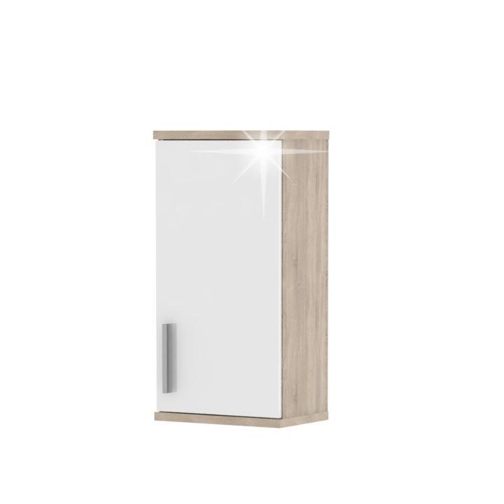 KONDELA Lessy LI 4 kúpeľňová skrinka na stenu dub sonoma / biela