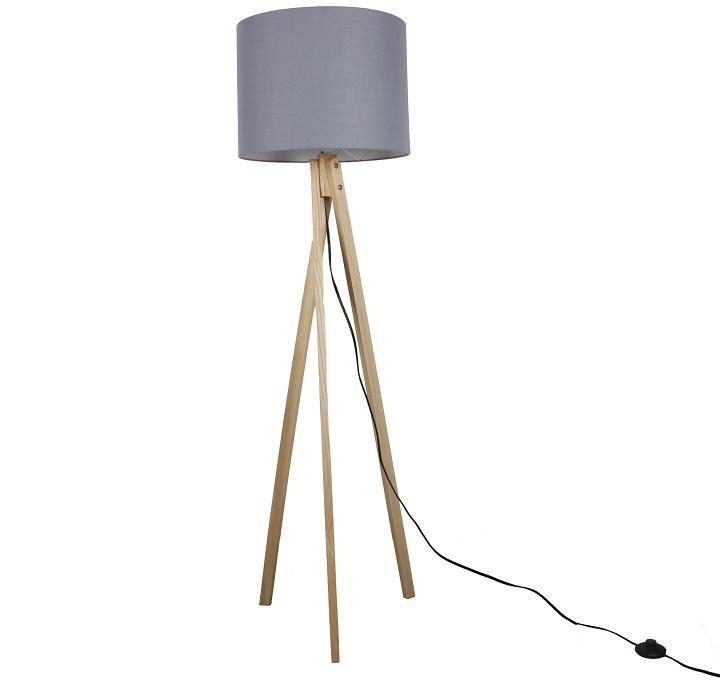 KONDELA Lila Typ 7 stojacia lampa sivá / prírodná