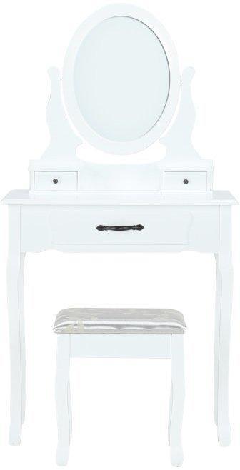 KONDELA Linet New toaletný stolík s taburetkou biela / strieborná / zlatá