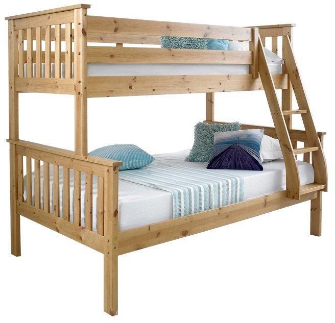KONDELA Luini 90 drevená poschodová posteľ s roštami prírodná