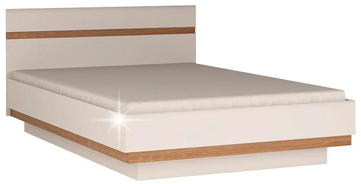 KONDELA Lynatet 93 180 manželská posteľ biela / dub sonoma truflový
