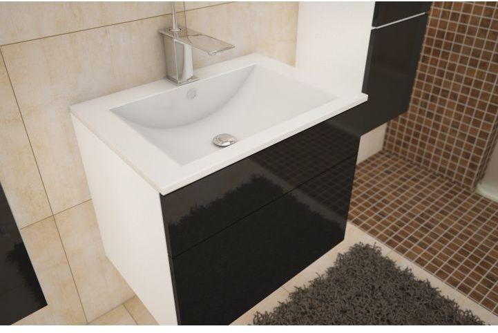 KONDELA Mason BL 13 kúpeľňová skrinka pod umývadlo biela / čierna