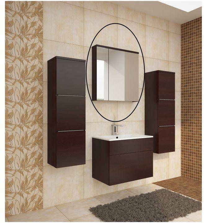 KONDELA Mason WE 14 kúpeľňová skrinka na stenu so zrkadlom wenge