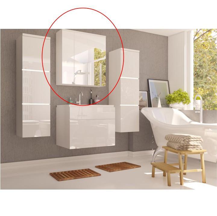 KONDELA Mason WH 14 kúpeľňová skrinka na stenu so zrkadlom biela