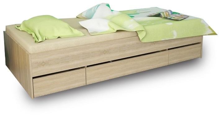 KONDELA Matiasi 90 jednolôžková posteľ s úložným priestorom buk