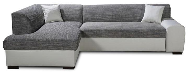 KONDELA Minerva L rohová sedačka s rozkladom a úložným priestorom biela / sivá melírovaná
