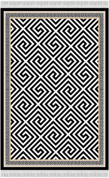 KONDELA Motive koberec 80x150 cm čierna / biela