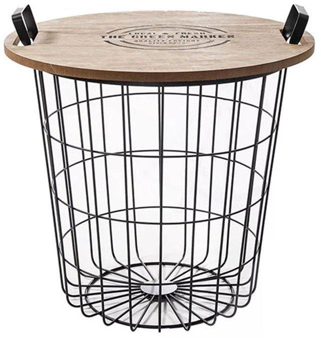 KONDELA Nando príručný stolík s úložným priestorom prírodná / čierna