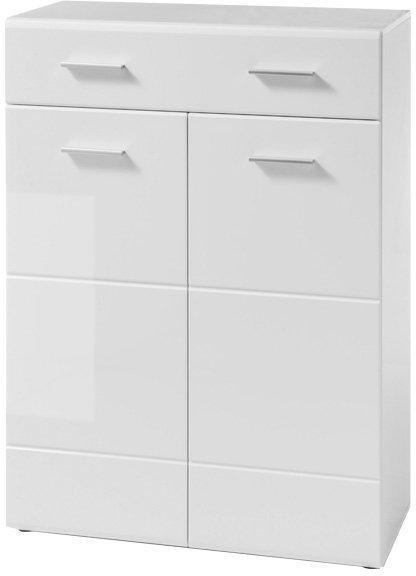 KONDELA Norlan 2 botník (skrinka na topánky) biela / biely lesk