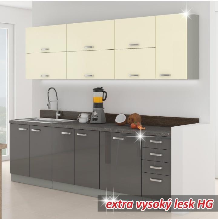 KONDELA Prado 260 kuchyňa sivá / krémová