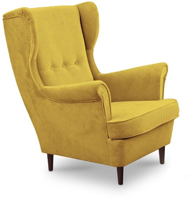 KONDELA Rufino kreslo (ušiak) žltá / wenge