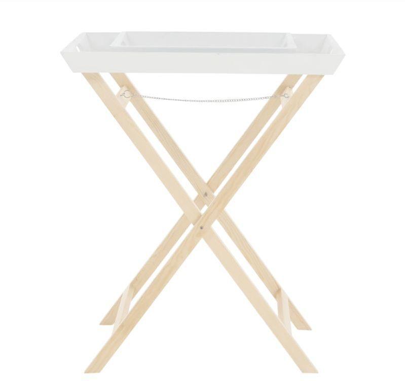 Kondela Servírovací stolík s dvomi snímateľnými táckami, biela-prírodná, NORGE