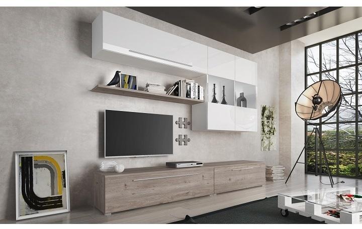 KONDELA Sofi obývacia stena dub nelson / biela