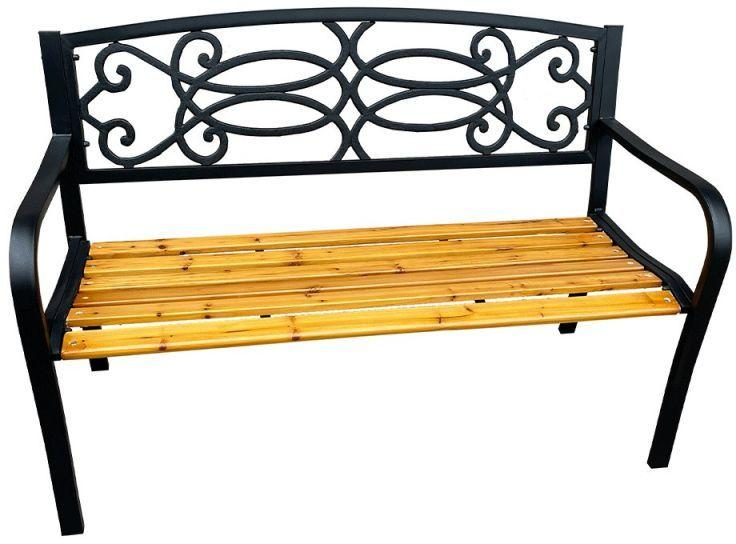 Kondela Záhradná lavička, čierna/prírodná, ROTINA NEW