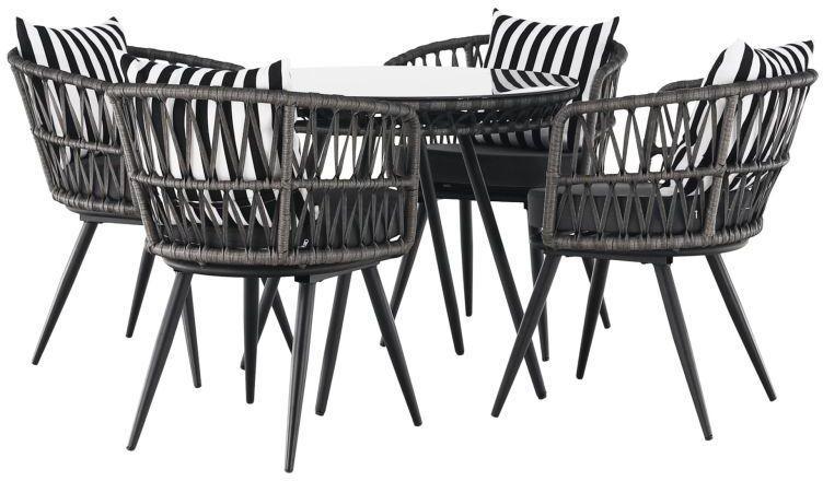 Kondela Záhradný 5-dielny ratanový set, čierna/sivá/čierno-biely pásik, HABIK