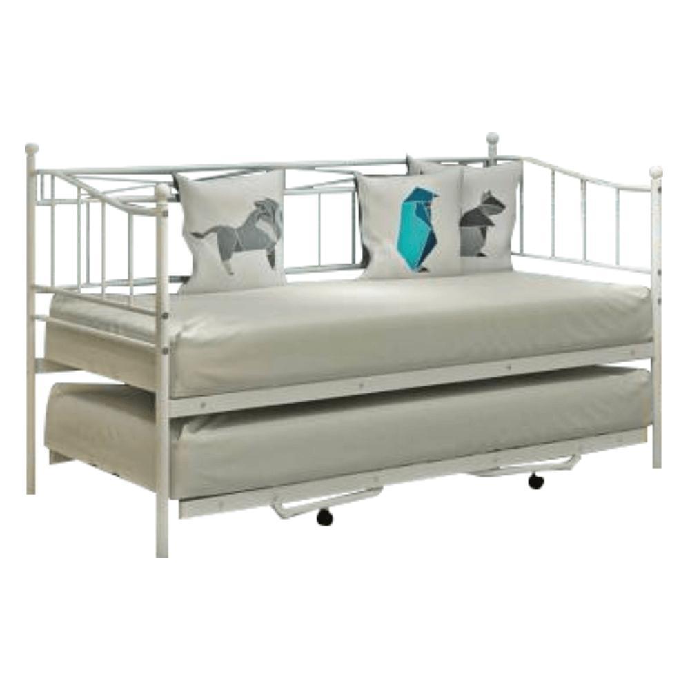 KONDELA Zarola kovová rozkladacia posteľ s prístelkou biela