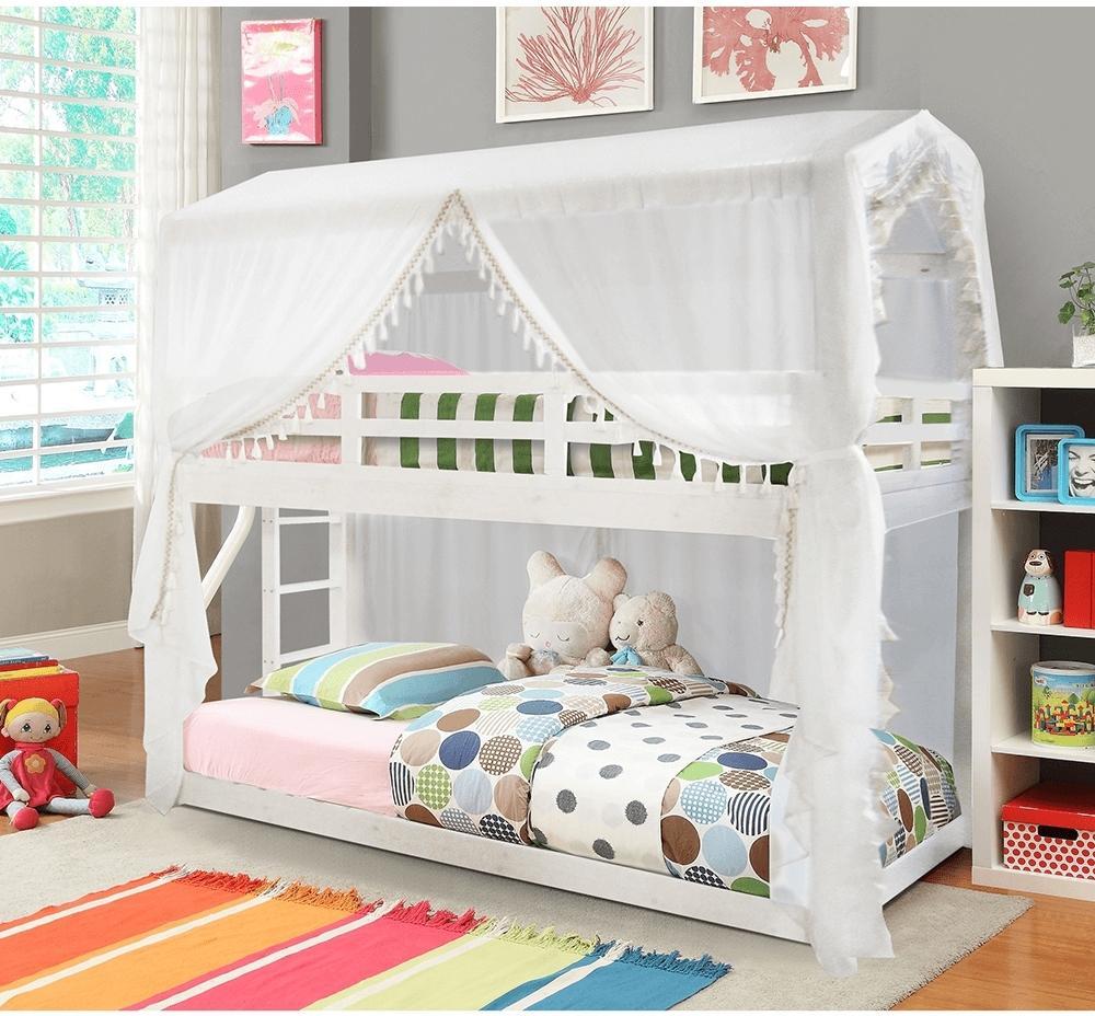 KONDELA Zefire poschodová posteľ s roštom biela