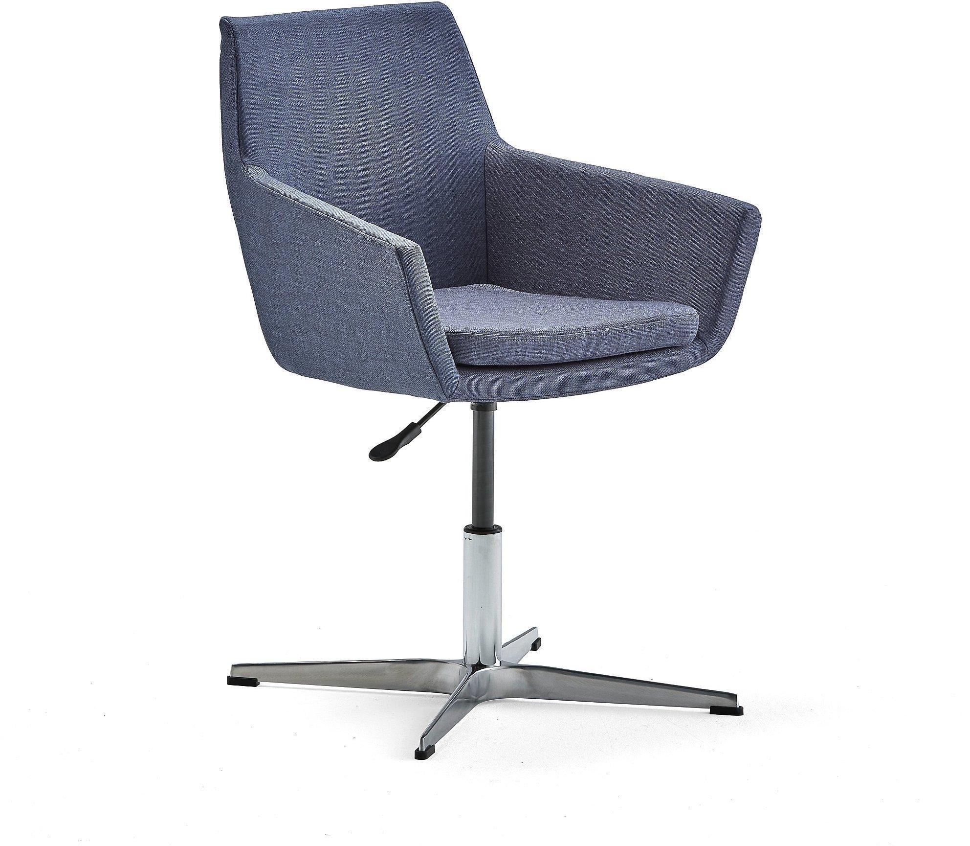 Konferenčná stolička Fairfield, leštený hliník, modrošedá