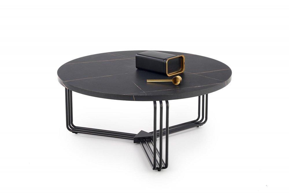 Konferenčný stolík ANTICA čierny mramor / čierna Halmar