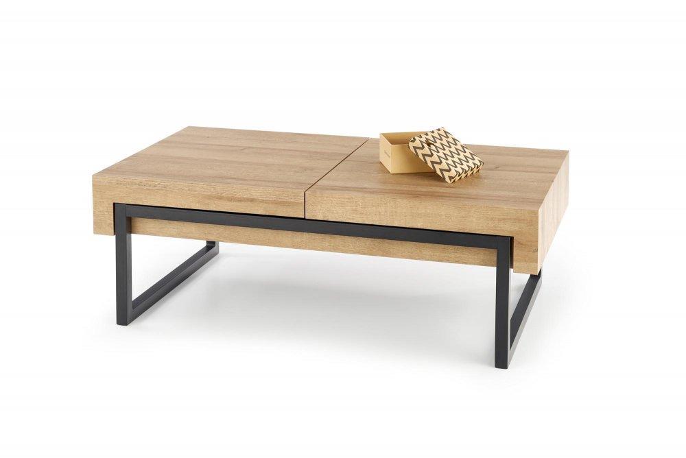 Konferenčný stolík CLARA dub zlatý / čierna Halmar