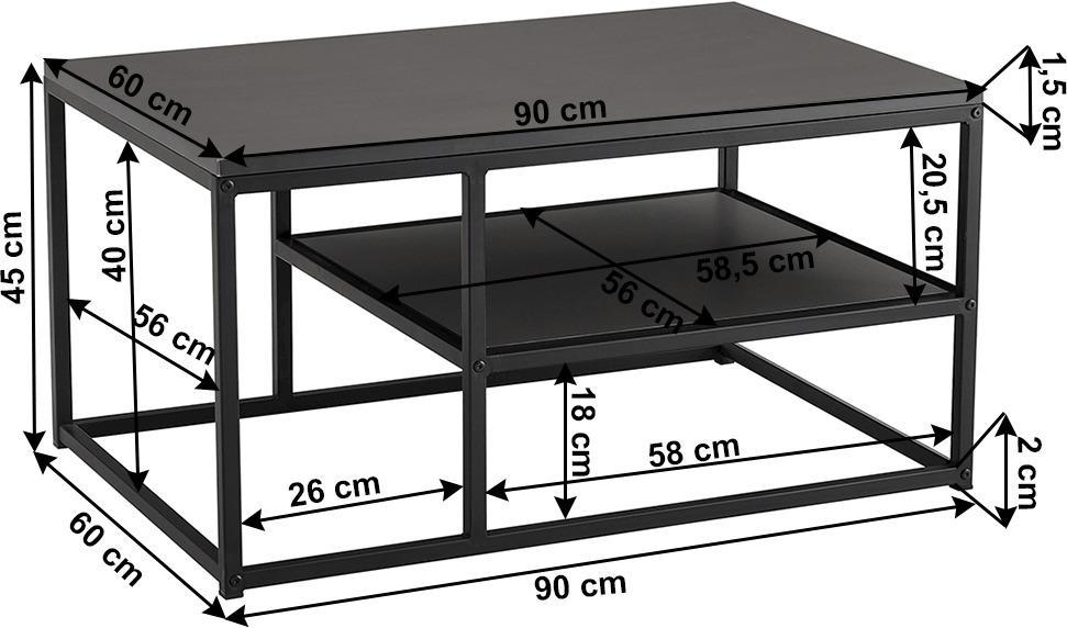 Konferenčný stolík, grafitová/čierna, BARMIO